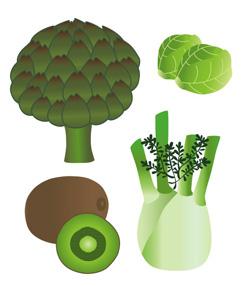 Pour les Editions Lito. Illustrations, jeux en autocollants sur le thème des fruits et légumes. 110 autocollants.