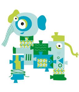 Designer produit et illustratrice,pour Globe Trotoys - Deglingos Cliquer. 2 autres puzzles en tissu à découvrir... Chaque puzzle est composé de 7 modules avec des activités sur certaines pour éveiller  le tout-petit. A la Une, le puzzle de Patatrunk.