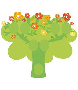 Illustratrice pour Djeco Réalisation de l'illustration de l'arbre, des cadres et des branches supplémentaires, sous forme d'adhésifs repositionnables.