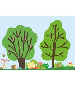 Illustratrice pour Oxybul-Eveil & Jeux Cliquer. Les illustrations des oiseaux et des feuilles sont à découvrir. Sous forme de stickers, elles viennent compléter l'illustration des deux arbres.