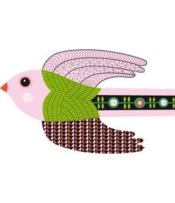 Illustratrice pour Djeco Cliquer, le ruban oiseau à découvrir en grand et le ruban dragon. A la Une, extrait du ruban oiseau.